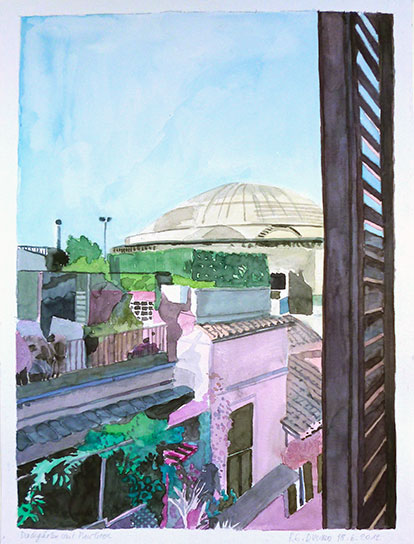 ROOF GARDENS AND PANTHEON, 56x42, 2012