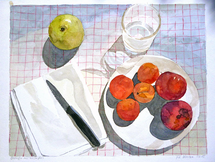 FRUIT PLATE WITH DRINKING GLASS, 40x50, 2012