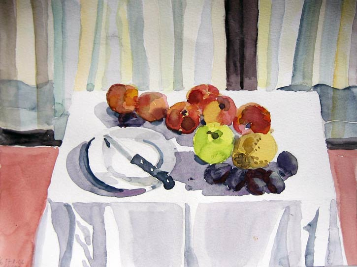 STILL LIFE WITH FRUITS AND KNIFE, 30x40, 2006