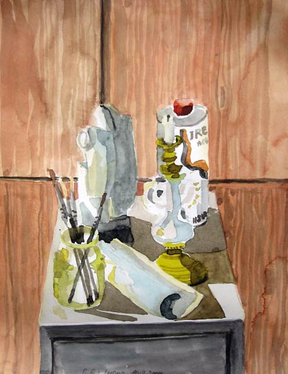 STILL LIFE WITH PAINTING TOOLS, 40x30, 2006