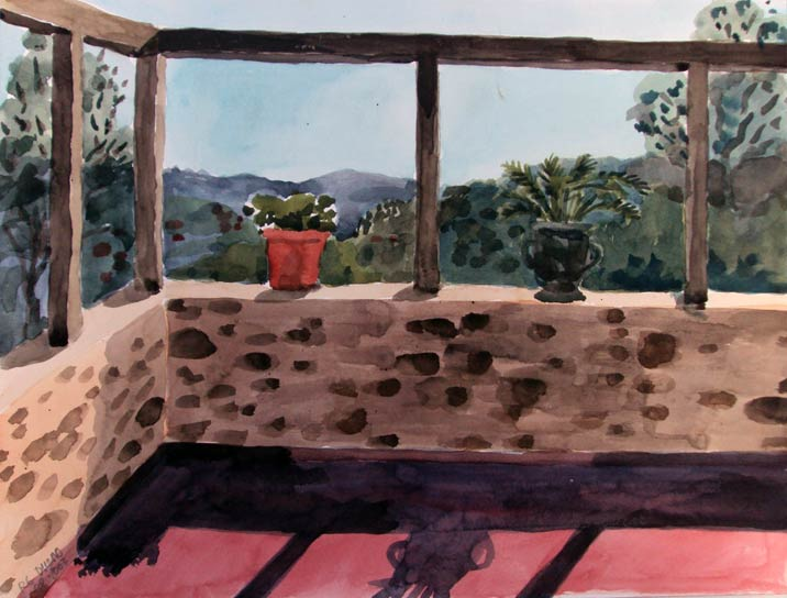 TERRACE AT NOON, 31x41, 2003